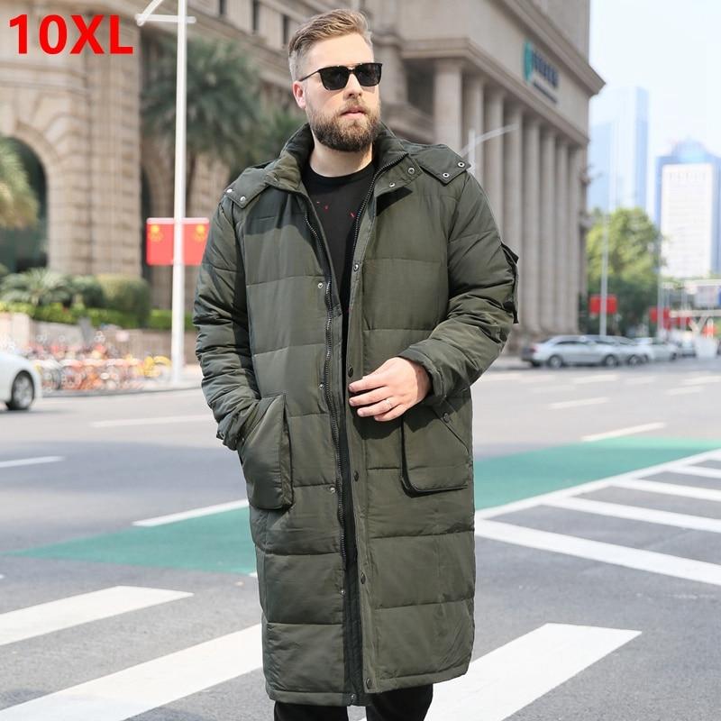 Мужской длинный пуховик на утином пуху, теплая Толстая куртка выше колена, большой размер, зимний пуховик