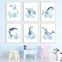 watercolor marine life whale dolphin nursery nordic posters and prints wall art canvas painting wall pictures child room decor