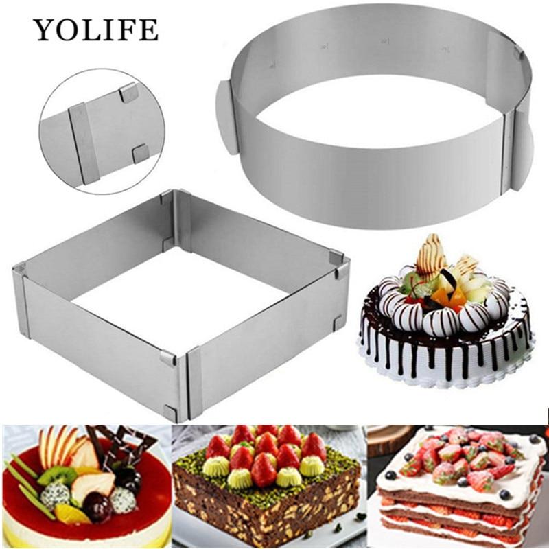 16-30cm Регулируемый мусс кольцо 3D круглая и квадратная форма для выпечки из нержавеющей стали, для выпечки плесень кухонные десертные Аксессу...