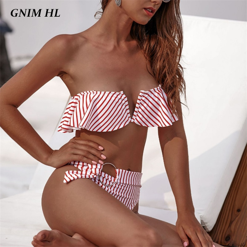GNIM High Waist Bandeau Bikini Mujer 2019 New Ruffle Swimwear V Neck Striped Swimsuit Women Sexy Brazilian Biquini Bathing Suit