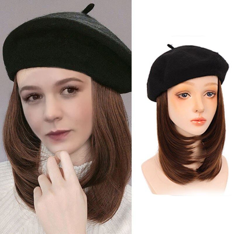 Black / Brown hort Straight Wig Hair Wigs for Women with Beret Naturally Connect False Hair Girl Party Hat Wig