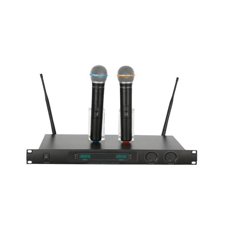 Microfone profissional sem fio conferência de palco uhf gravação de metal anti-interferência karaoke dinâmico mic