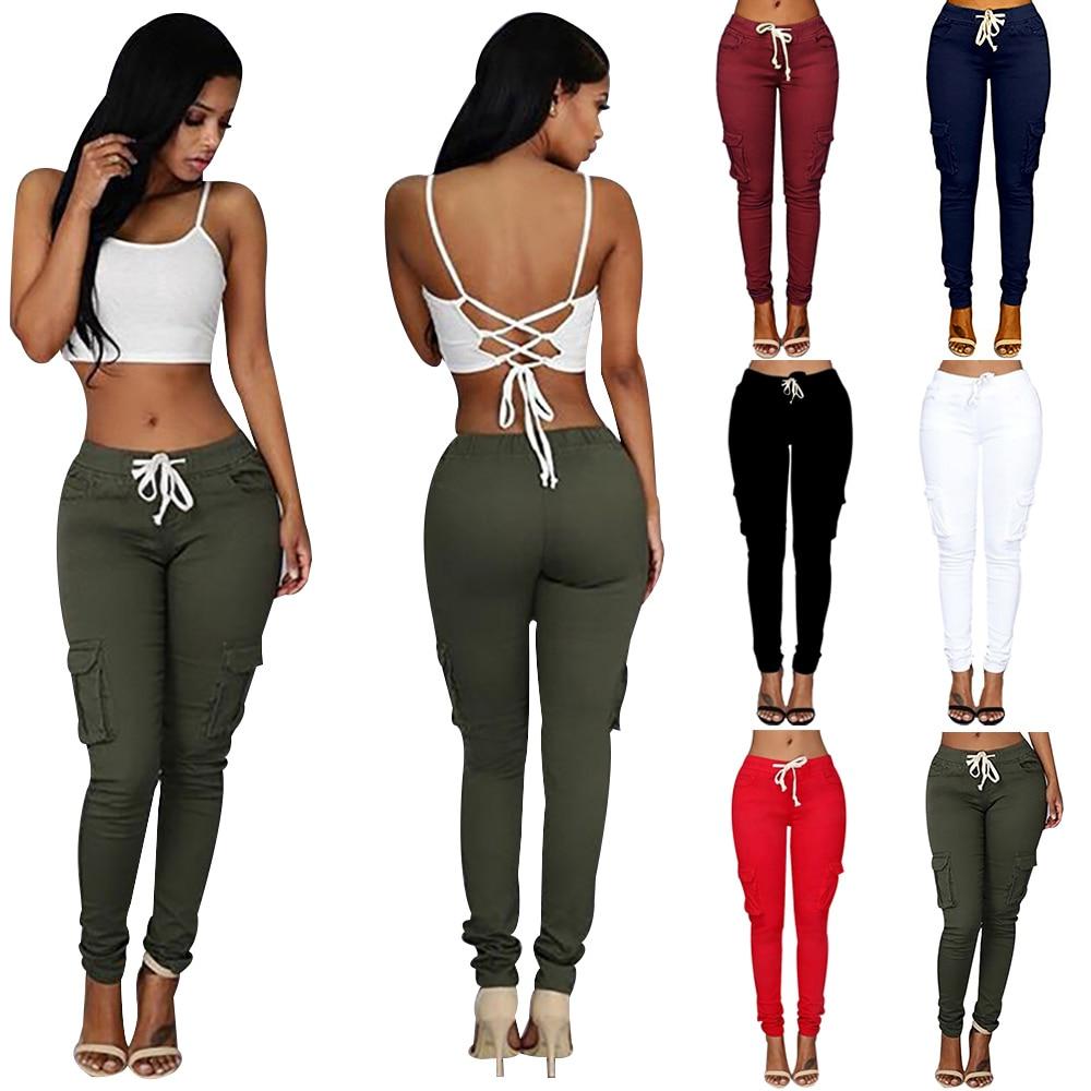 Pantalones de mujer, pantalones pitillo informales con cordones para mujer, pantalones deportivos con múltiples bolsillos, pantalones deportivos sólidos ajustados para mujer D30