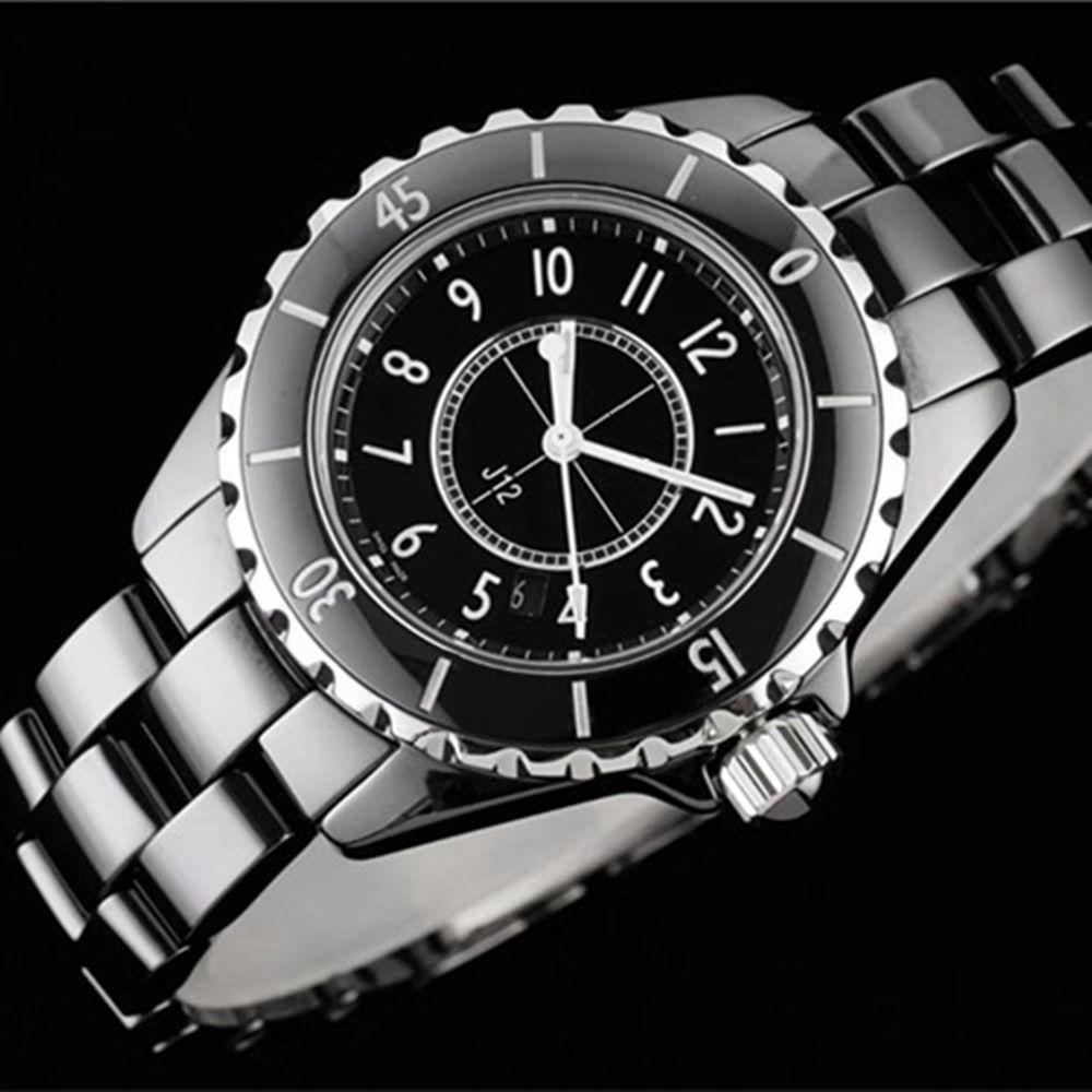 Luxury Brand New Mens Women Watch Ceramic Quartz Ladies Couple Watches White Black Number Dial Genuine Ceramica Wristwatch