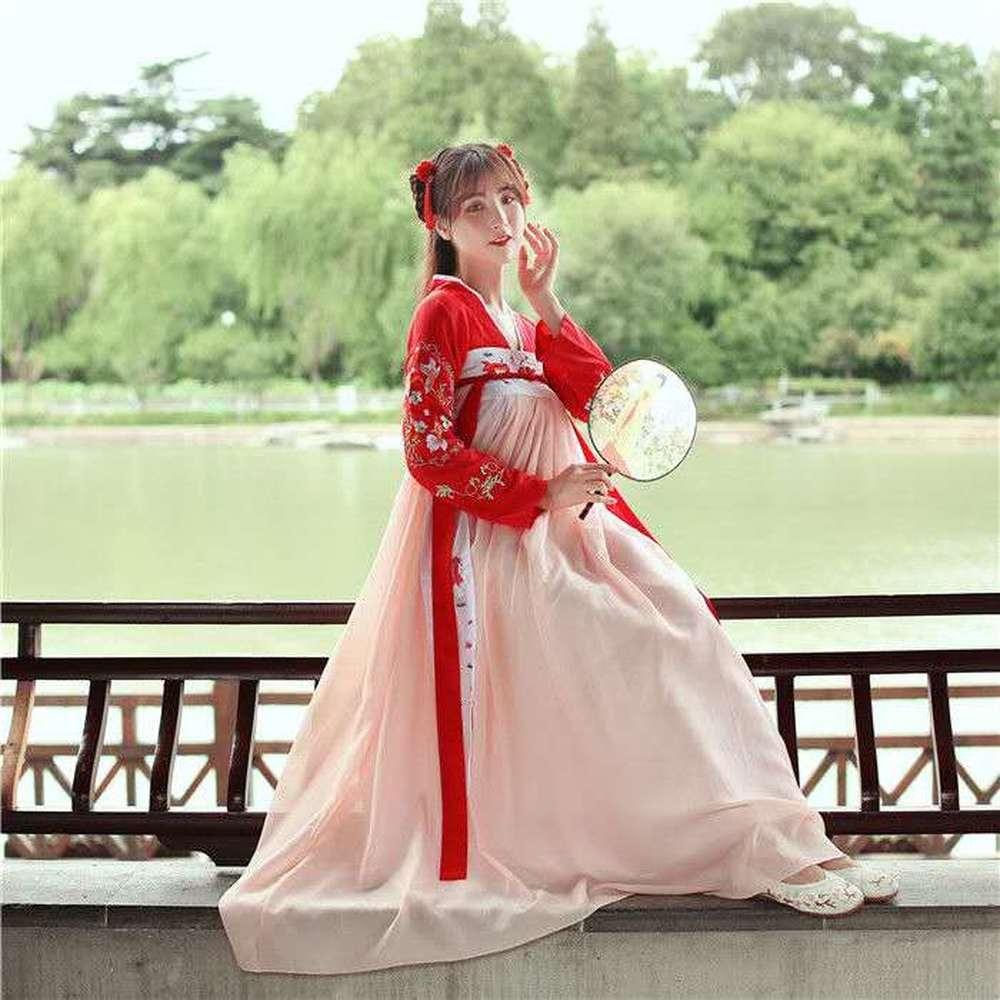 Ancient Chinese Costume Tang Dynasty Ming Dress Hanfu Dress Women Traditional Hanfu Princess Dance Clothing Red Outfit Dancewear