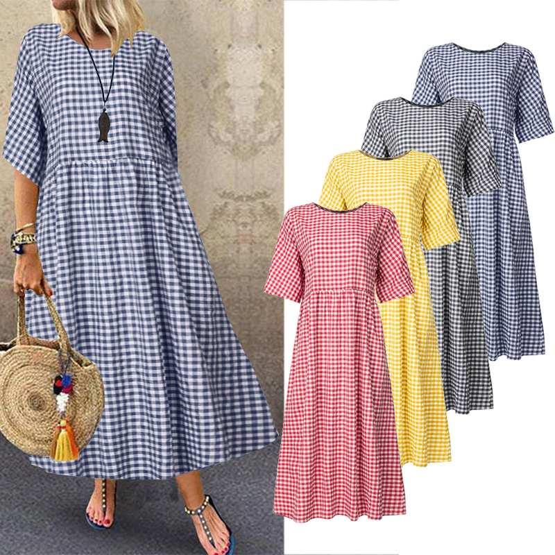 ZANZEA 2020 Summer Sundress Women Plaid Check Dress Casual Cotton Linen Long Maxi Vestidos Elegant Kaftan Robe Femme Plus Size