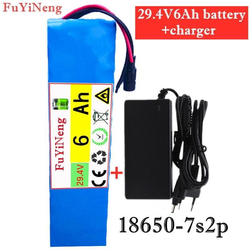 24 فولت 6Ah 7s2p 18650 ليثيوم أيون بطارية قابلة للشحن حزمة 29.4v6Ah دراجة كهربائية الدراجة موازنة سكوتر + 29.4 فولت 2A شاحن