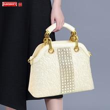 2020 luksusowa moda diament kobiet torebki torba na ramię Rhinestone duża pojemność Messenger torby białe dzikie lakierki duże