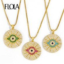 FLOLA rond bleu mauvais oeil pendentif colliers pour femmes cristal chanceux grec oeil collier CZ femelle turc mode bijoux nkeq83