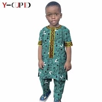 african clothes for kids boys outfits custom ankara print tops and pants sets bazin riche traditional children clothing y214001
