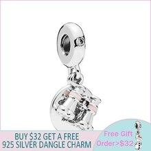 New 925 Sterling Silver Beads Heart Binoculars Pendant Charms fit Original Pandora Bracelets Women DIY Jewelry