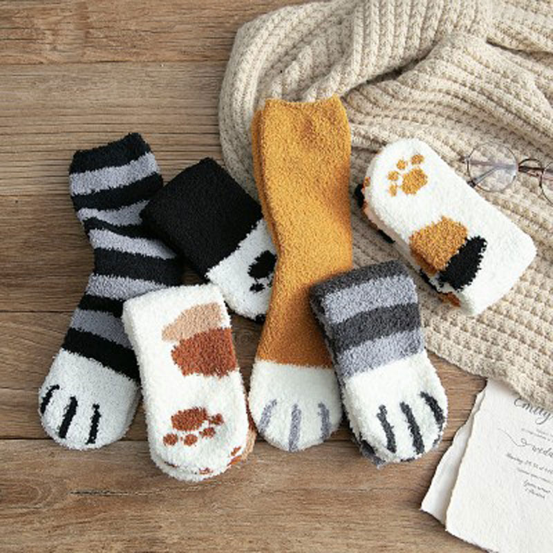 2019 lindos calcetines de lana de Coral de felpa calcetines de tubo femenino Otoño Invierno garras de gato gruesos calcetines calientes de dormir del suelo