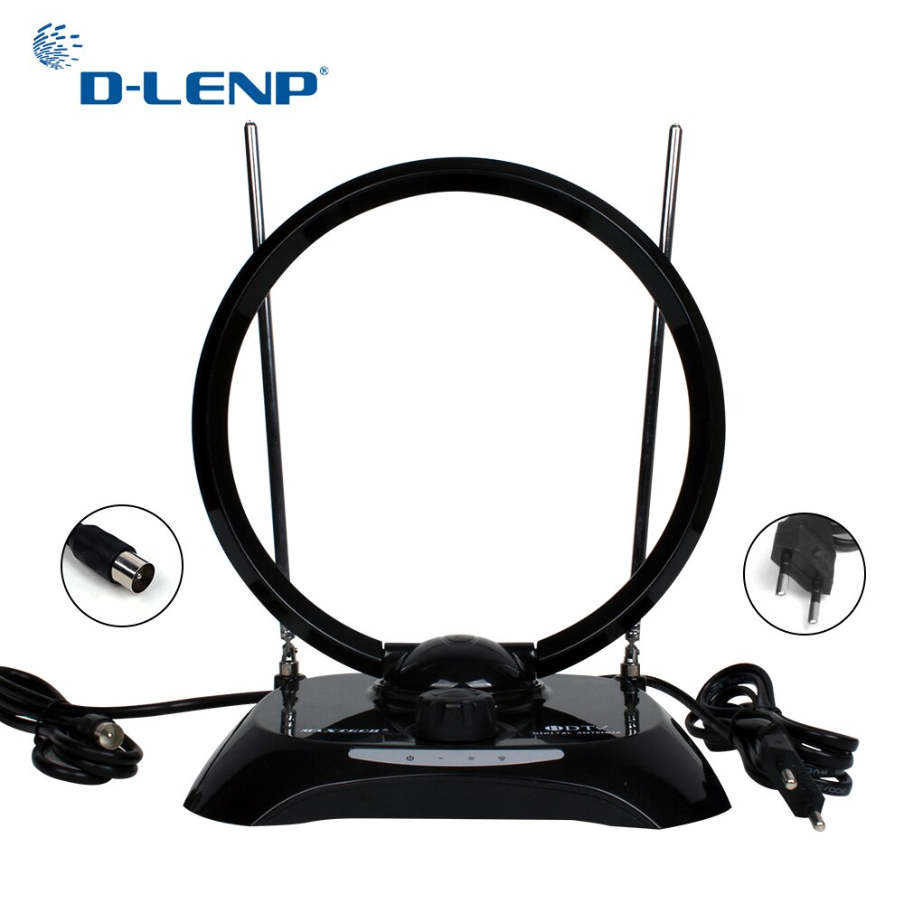 Antena de recepción de TV Dlenp, antena interior de alta ganancia para DVB-T2 para ISDB-T receptor de TV inteligente ATSC con IEC-macho