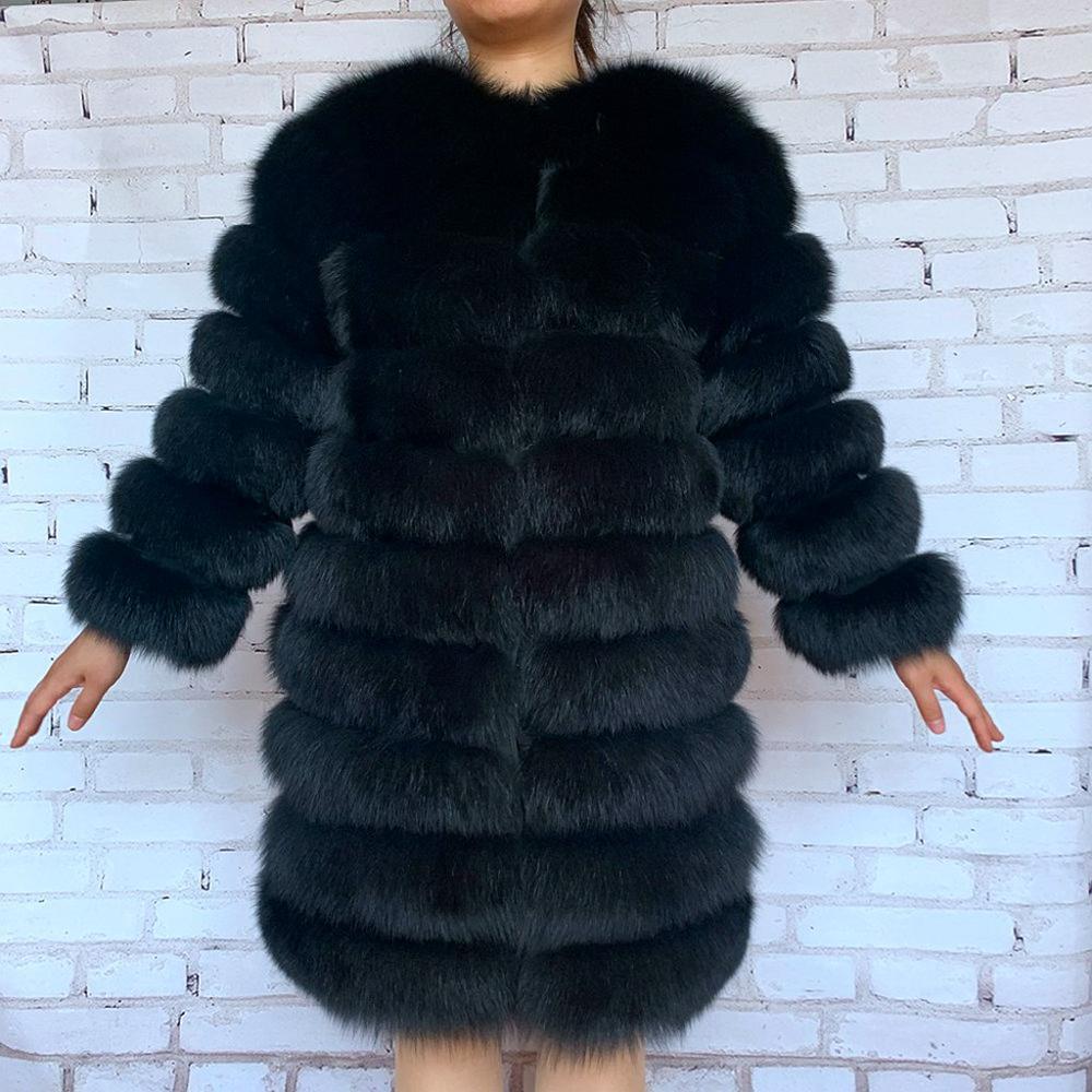 معطف فرو الثعلب الحقيقي للنساء ، سترة من الفرو الطبيعي الحقيقي ، ملابس خارجية شتوية للنساء ، مجموعة جديدة