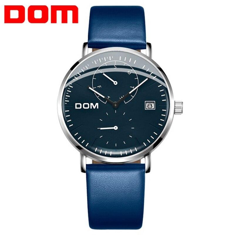 2020 DOM Neue Männer Uhr Blau Wasserdicht Kalender Quarz Uhren herren Business Casual Armbanduhren Für Mann Uhr Reloj Hombre