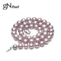 gn pearl 8 10mm colorful genuien white natural freshwater round pearl necklaces 925 sterling silver clasp chains 42cm gnpearl