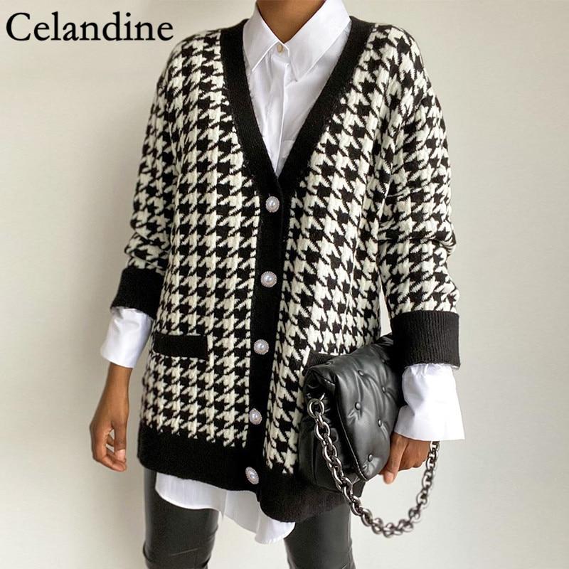 Celandine Houndstooth V Neck Long Sleeve Knitted Cardigan Women Loose Oversized Sweater Black Button Jumper Autumn Winter 2020