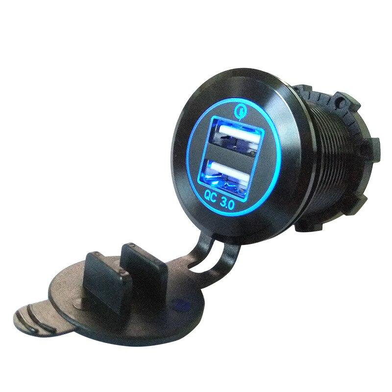 DIY QC 3,0 cargador de coche de carga rápida 3,0 adaptador de puerto Dual USB 35W para dispositivo móvil 7075 de aluminio de aviación Shell luz azul