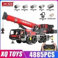 xq 22003 high tech toys the moc app rc motorized mobile crane model building blocks assembly bricks kids christmas gifts