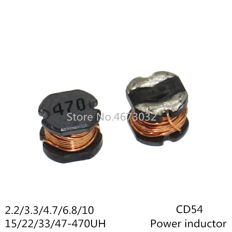 Inductor de 20 piezas CD54, Inductor de potencia SMD 2.2UH 3.3UH 4.7UH 6.8UH 10UH 15UH 22UH 33UH 47UH 68UH 100UH 150UH 220UH 330UH 470UH