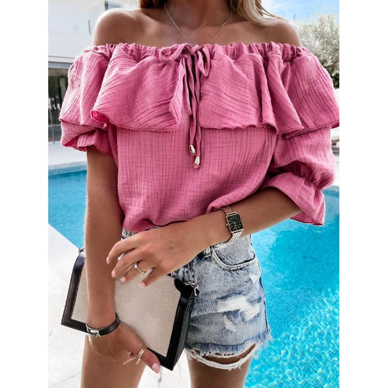 Lady Off Shoulder Sexy Ruffled One Word Collar Lace-Up Solid Mid-Sleeved  Elegant Off-the-shoulder Top Shirt Sexy Top Ladies Top new ins sexy off shoulder copper buckle knitted off shoulder top