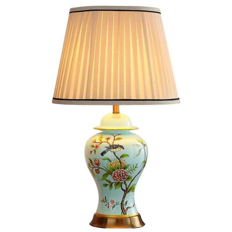 Moderne Pasoral Keramik Dimmer Tisch Lampe für Foyer Bett Zimmer Studie Blaue Vögel Blumen Porzellan Lesen Licht H 55/ 68cm 2509