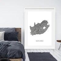 Affiches et imprimes de cartes dafrique du sud  aquarelle  carte de voyage  toile dart murale  peinture en noir et blanc  image pour decoration de salon et de maison