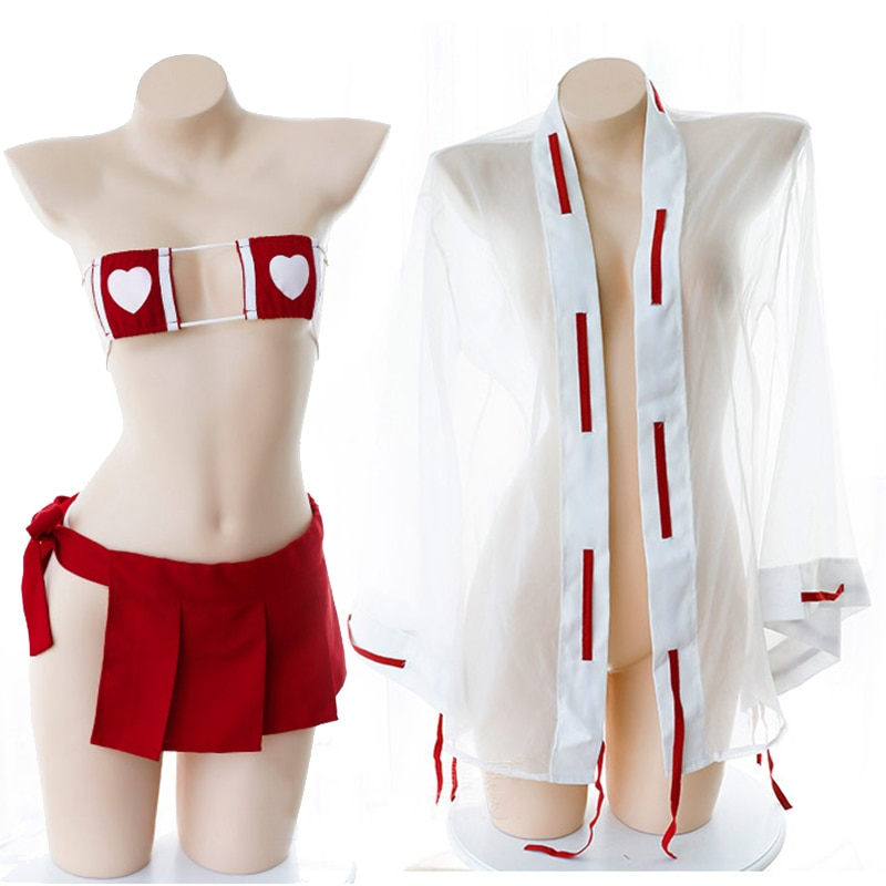 Conjunto de lencería Sexy para mujer Kimono japonés erótico uniforme de bruja Micro Bikini sujetador Mini falda Transprent Robe Tanga Cosplay