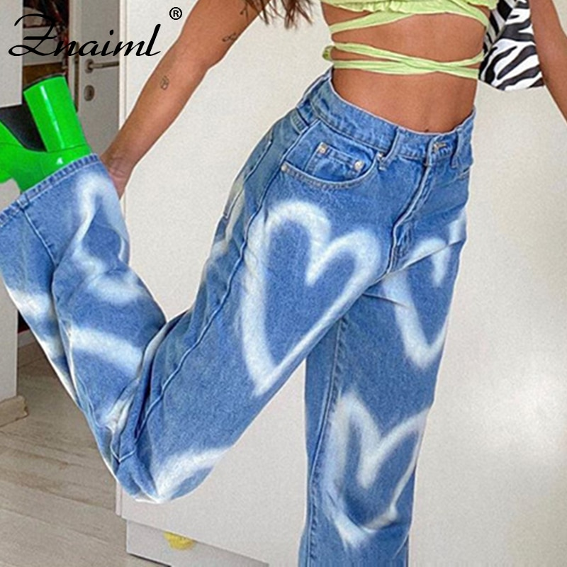 Znaiml Chic Heart Printed Y2K Jeans Women Vintage High Waist Straight Harajuku Aesthetic Mom Jeans Denim Streetwear Trousers