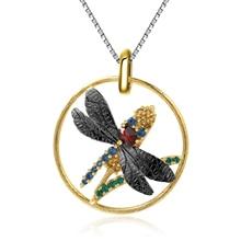 GEMS BALLLET Natuarl negro granate gema colgante joyería para mujer, colgante de libélula, Collar de plata de ley 925 Vintage