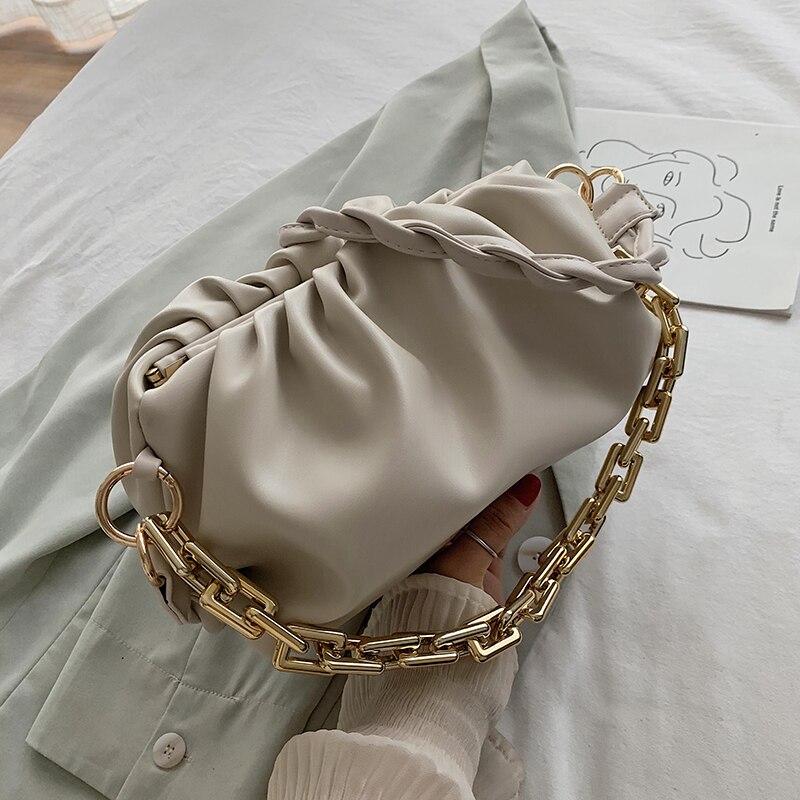 Solid Color Elegant Female Tote bag 2021 New Fashion Soft Leather New Women Designer Handbag Casual Travel Shoulder  Cloud Bag