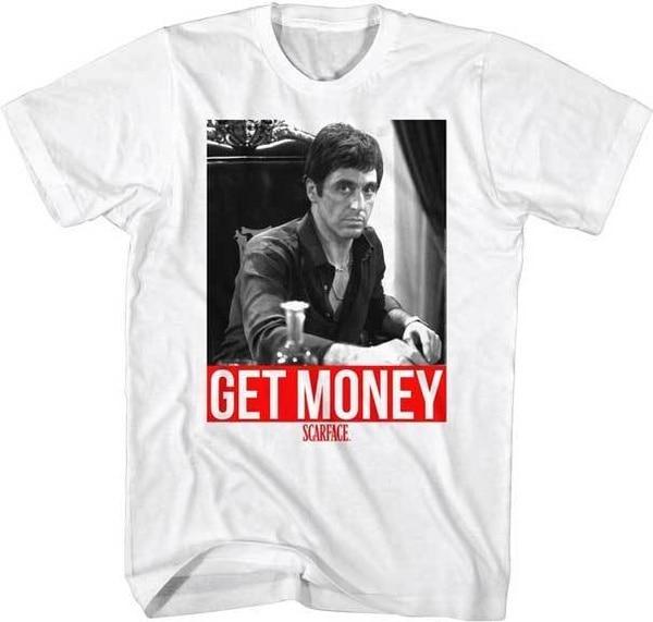 Новое поступление, Мужская футболка с круглым принтом, низкая цена, мужская белая футболка с принтом «Scarface Get Money», мужские футболки из 100% хло...