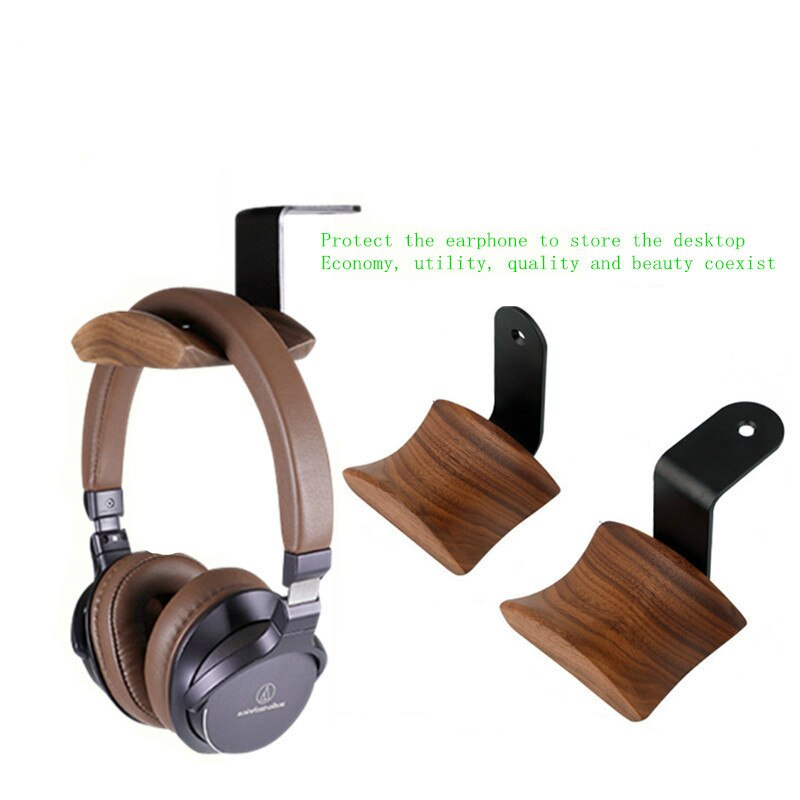 Universal Headphone Stand Headset Holder Hanger Wall-mounted Wood Headphone Hook Metal Display Rack