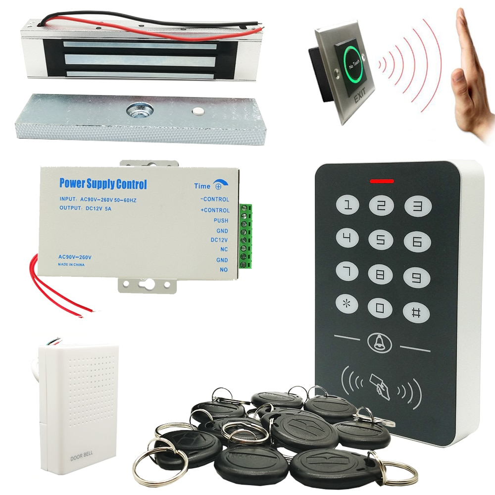 DIY Full 125khz RFID Door Access Control System Kits with 12V5A Power NO NC Lock Door Bell