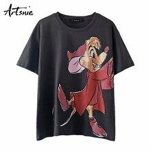 Artsnie streetwear impressão dos desenhos animados das mulheres t camisa verão 2020 o pescoço manga curta oversized topos feminino casual cinza escuro camiseta