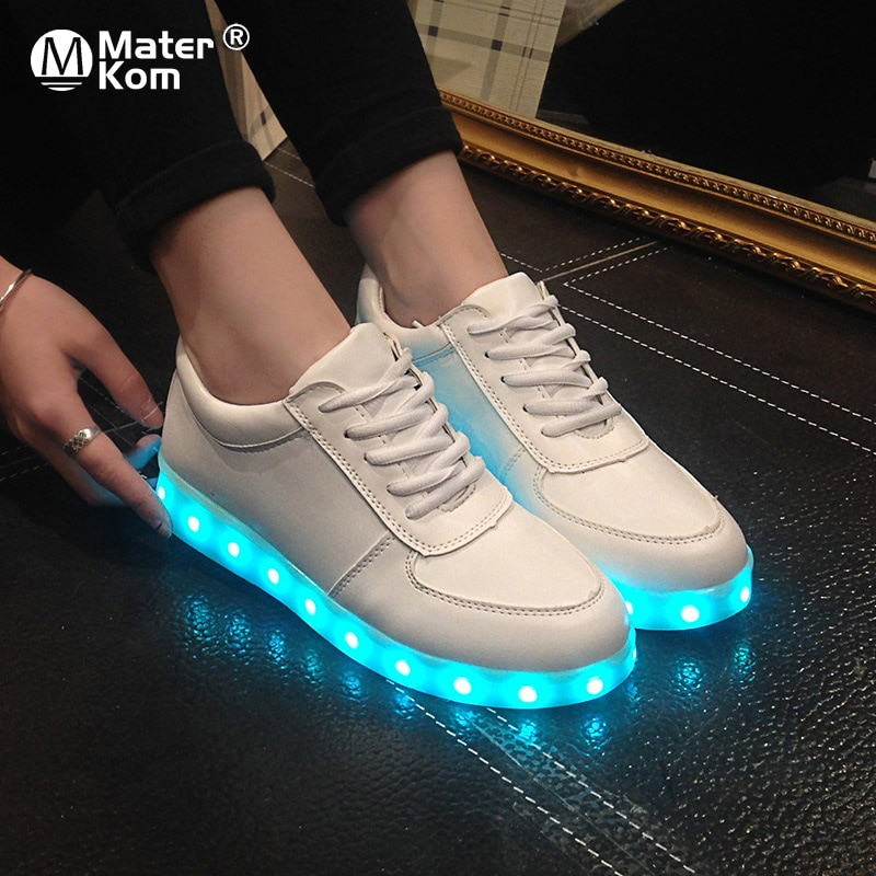 Size 27-46 Adult Unisex Womens&Mens 7 Colors Kid Luminous Sneakers Glowing USB Charge Boys LED Shoes