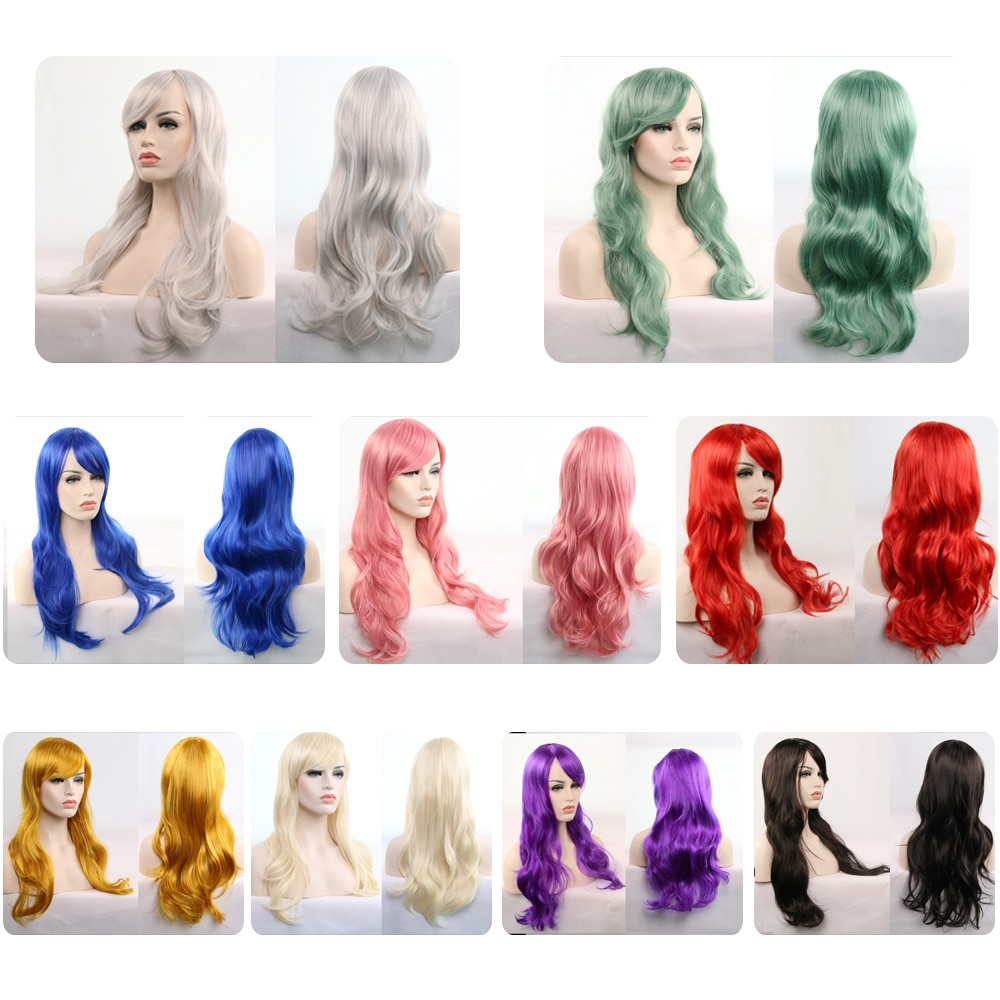 Cosplay Costume Wigs Natural Wave 28 Inches Long Heat Resistance Synthetic Eleven colors Available H