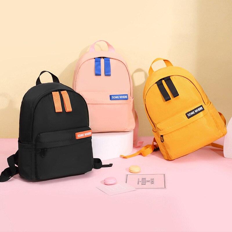 Casual Solid Color Schoolbag Nylon Large-capacity Student Backpack Waterproof Travel Bag Kindergarten Primary School Bookbag недорого