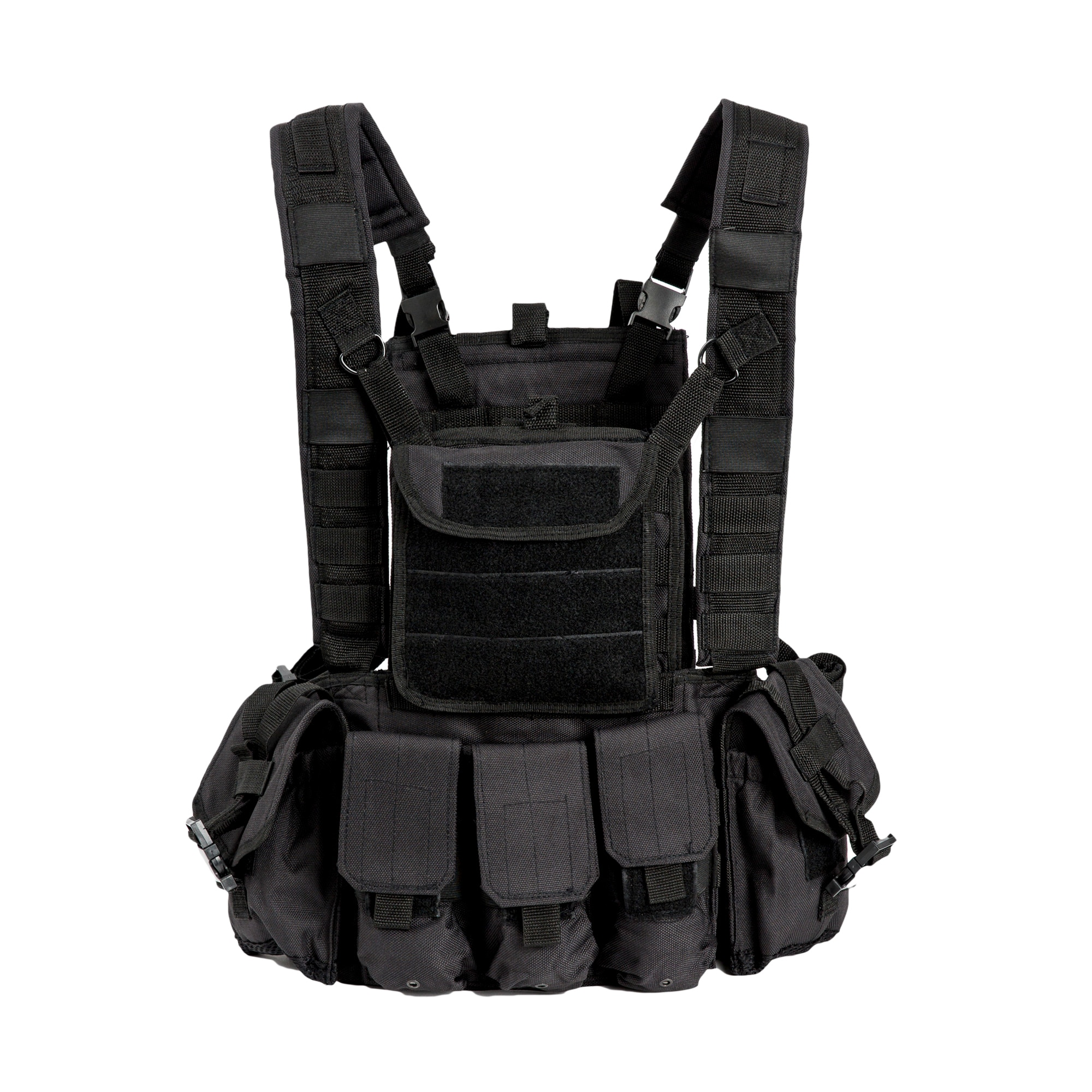 Akmax Military Combat Assault Vest Black 600D Polyester Webbing Belts Chest Jacket With 6 x Pouches