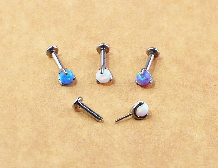ASTM F136 Titanium Opal 16g 18g Internal Thread Threadness push in Piercing Lip Tragus Daith Earrings Helix Cartilage earring