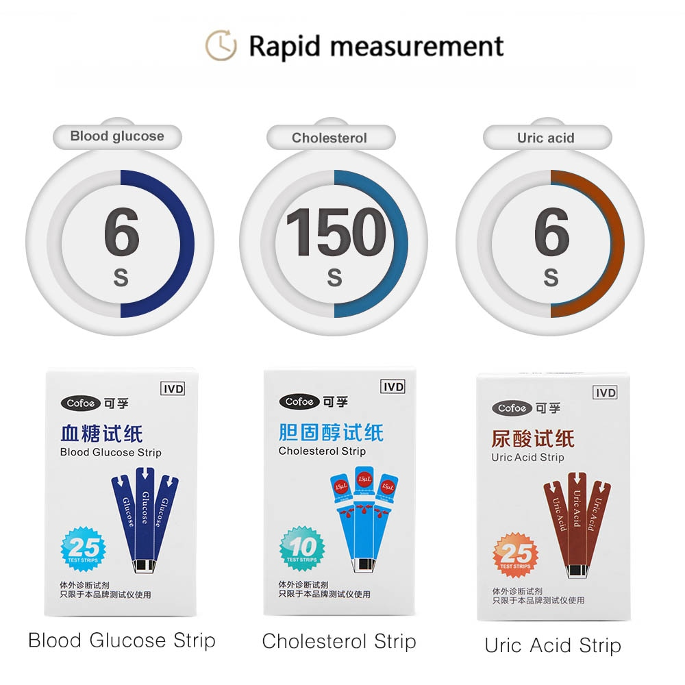 Cofoe 3 in 1 Cholesterol Uric Acid Blood Glucose household meter Health Care with test strips monitor Accurate for Diabetes De