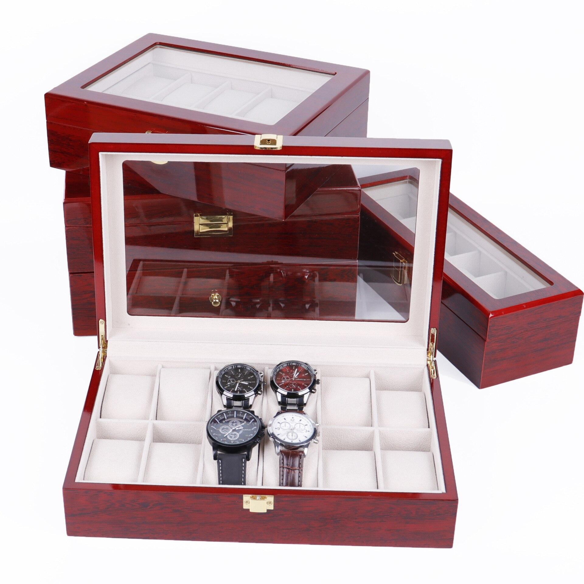 عالية الجودة صندوق خشبي ساعة الطلاء المنزلية الخبز الورنيش صندوق مجوهرات ساعة تخزين مجموعة التعبئة والتغليف