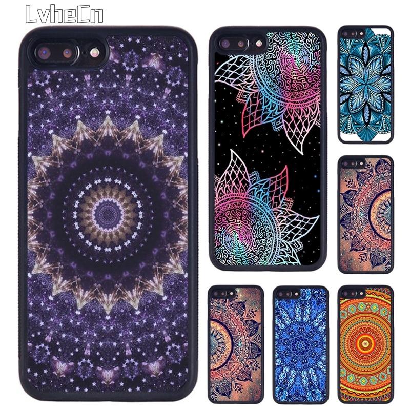 LvheCn Bohemia Tie Dye Hippie Mandala funda de teléfono para iPhone 5 S 6 S 7 8 Plus 11 Pro X XR XS Max Samsung galaxy S6 S7 S8 S9 S10plus