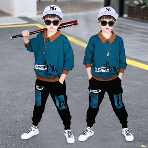 2021 teenager Boys Clothes Children's Autumn  Boys Sport Hoodie+pants Two-piece Set 8 9 10 12 13 14 Years Cotton Kids Clothes