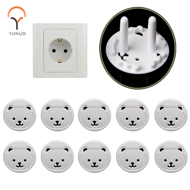 10pcs Baby Safety Child Electric Socket Outlet Plug Protection Security Two Phase Safe Lock Cover  Bear EU Kids Sockets Cover
