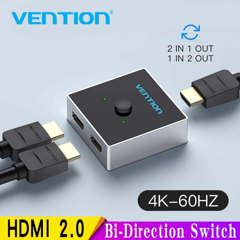 Vention HDMI переключатель Bi-Direction 2,0 HDMI 4K коммутатор 1x 2/2x1 адаптер 2 в 1 выход конвертер для PS4 Pro/4/3 TV Box HDMI сплиттер