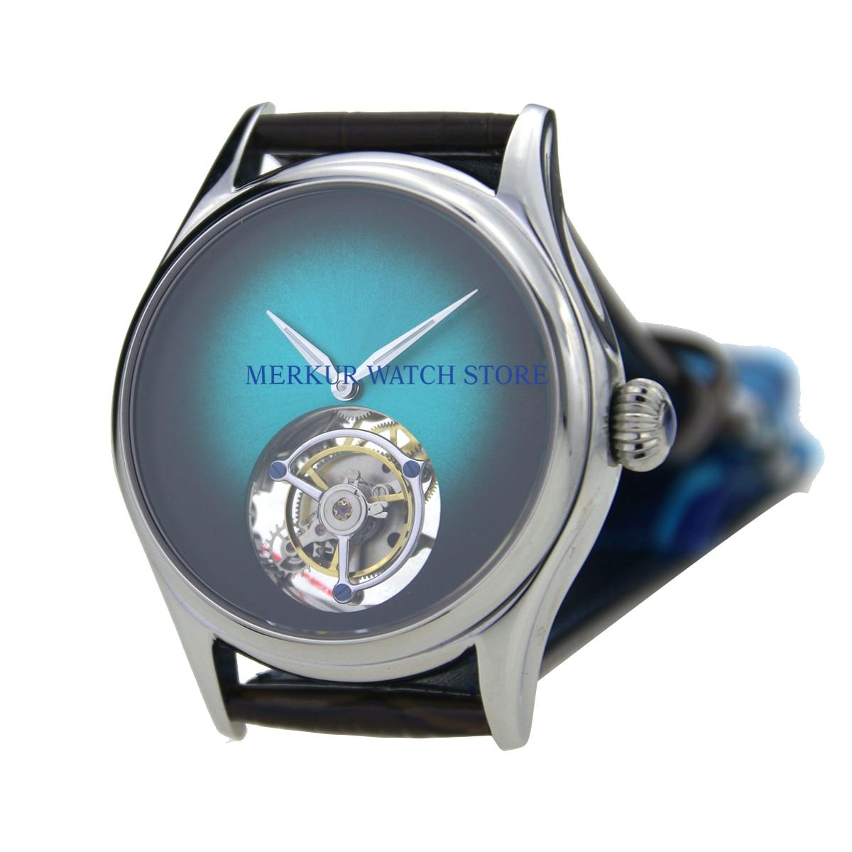Sugess, reloj para hombre, gaviota mecánica Hangzhou, movimiento alto Beat Tourbillon, skelyton, vestido de lujo, verde degradado