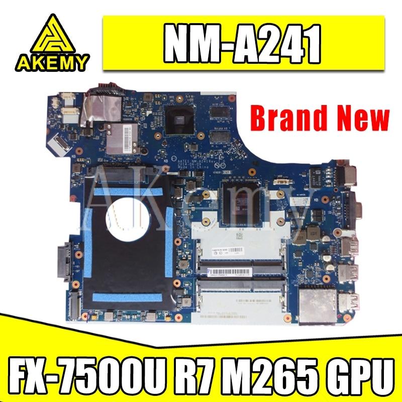 Akemy AATE1 NM-A241 Mainboard Für For Lenovo ThinkPad E555 Laotop Motherboard E555 NM-A241 w/ FX-7500U R7 M265 GPU
