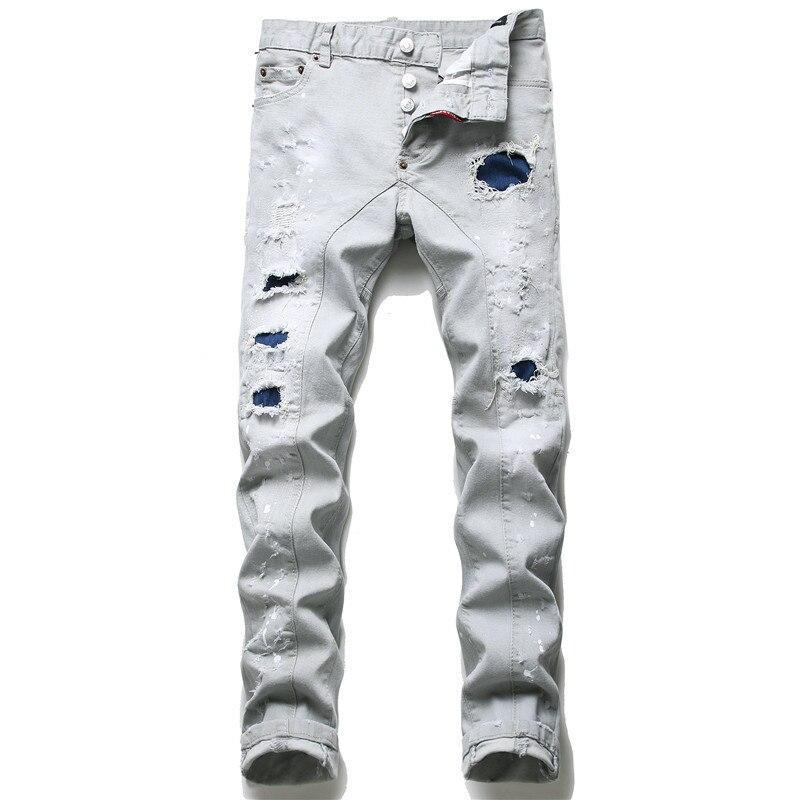 Новинка, мужские рваные брюки Dsquared2 на пуговицах, мужские облегающие брюки, мужские джинсовые брюки, зауженные джинсы высшего качества