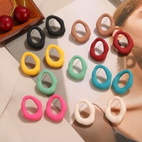 IPARAM Retro Colorful Geometric Stud Earrings Women's Candy Color Exaggerated Metal Alloy Earrings 2021 Fashion Jewelry